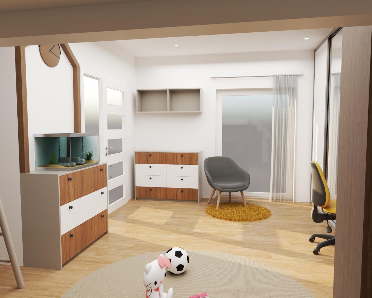 Grafické návrhy interiér 2020 - Grafický návrh detskej izby do rodinného domu - verzia 2- obr.3