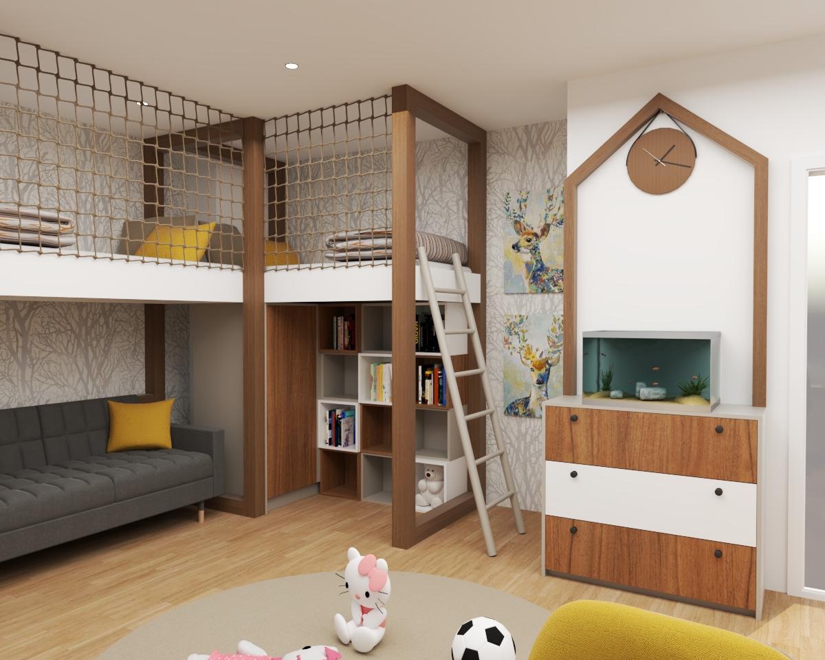 Grafické návrhy interiér 2020 - Grafický návrh detskej izby do rodinného domu - verzia 2- obr.2