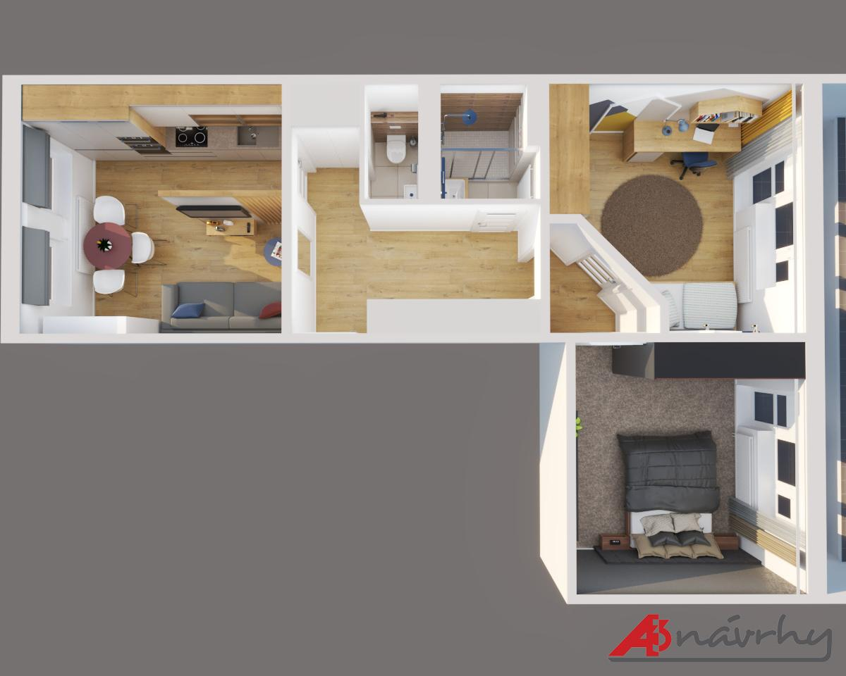 Grafické návrhy bytov a domov - Grafický návrh zariadenia trojizbového bytu v BA - obr.19