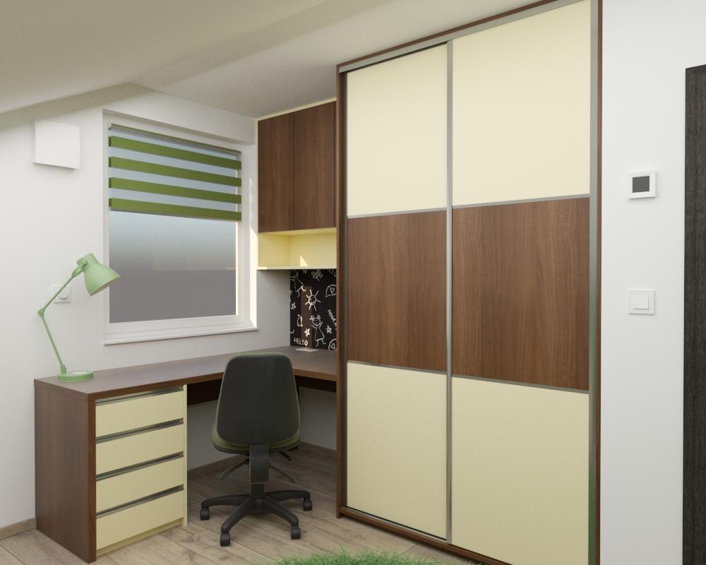 Grafické návrhy interiér 2020 - Grafický návrh detskej izby v podkroví rodinného domu - obr.1