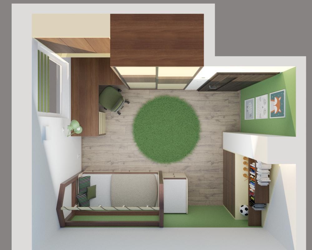 Grafické návrhy interiér 2020 - Grafický návrh detskej izby v podkroví rodinného domu - obr.5