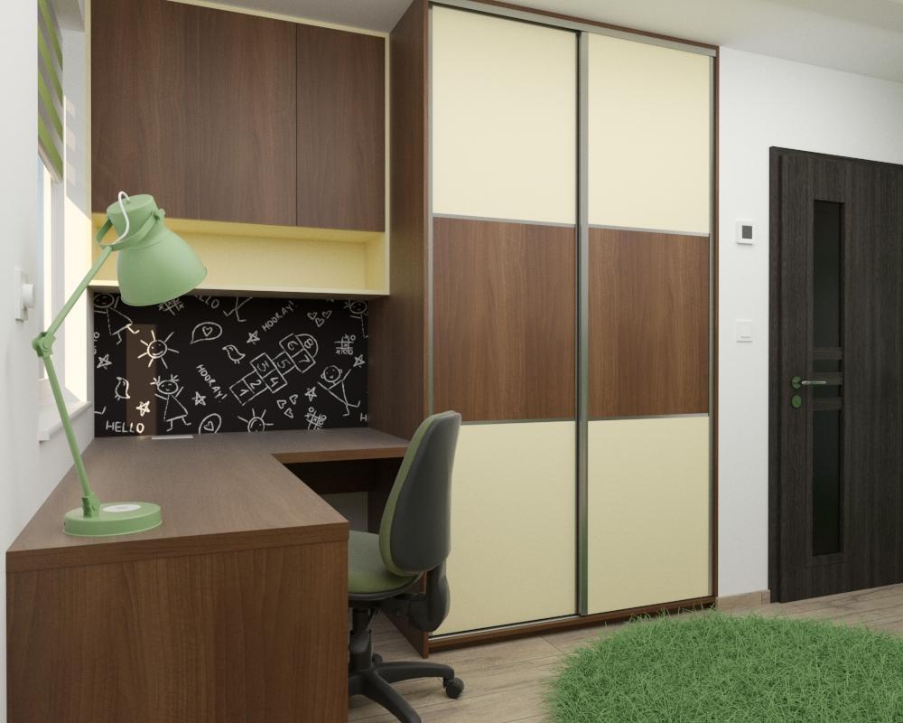 Grafické návrhy interiér 2020 - Grafický návrh detskej izby v podkroví rodinného domu - obr.2