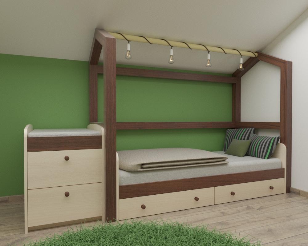 Grafické návrhy interiér 2020 - Grafický návrh detskej izby v podkroví rodinného domu - obr.4