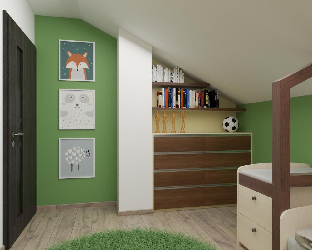 Grafické návrhy interiér 2020 - Grafický návrh detskej izby v podkroví rodinného domu - obr.3