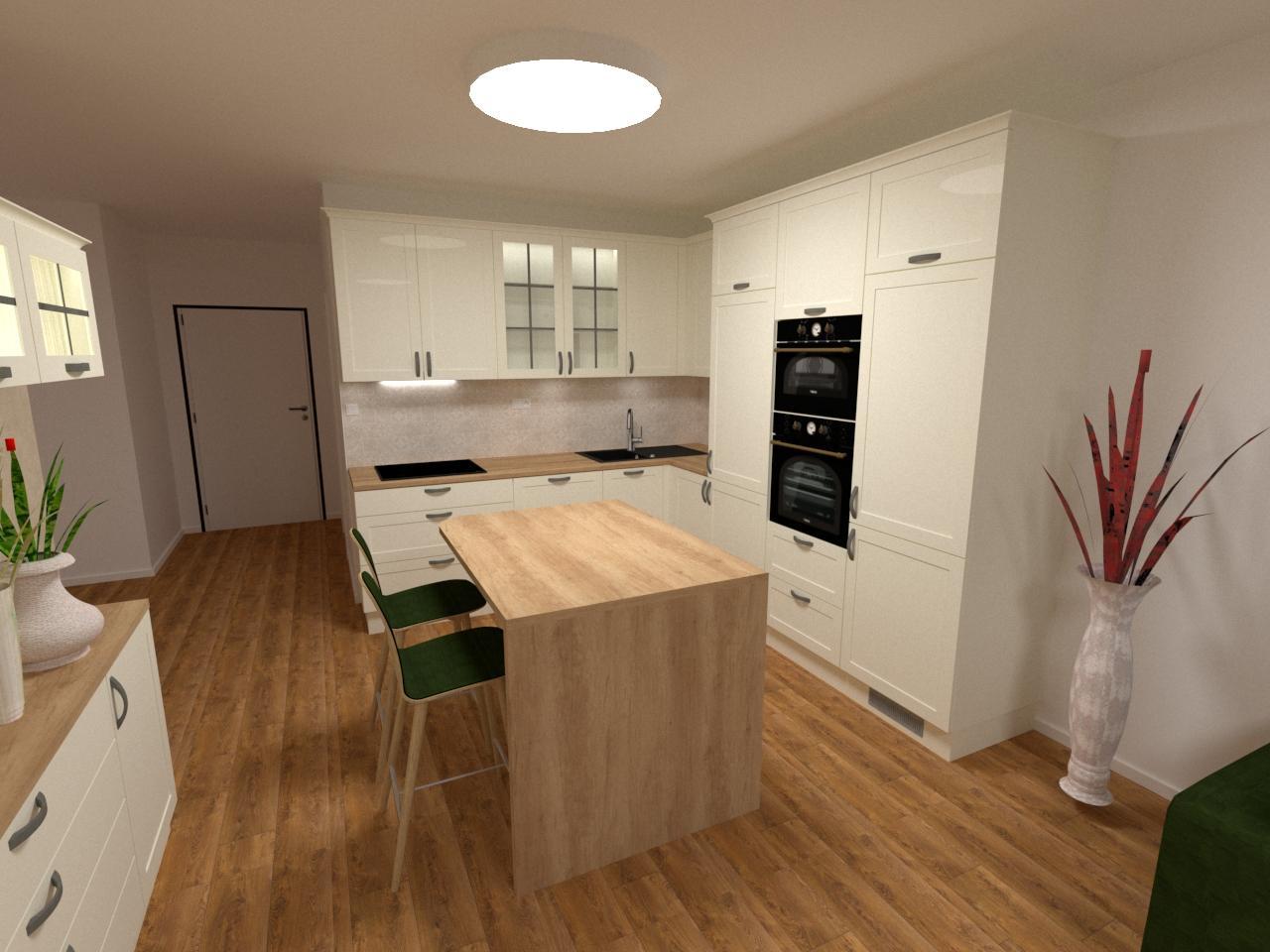 Grafické návrhy kuchynských liniek 2020 - Grafický návrh kuchynskej linky v bytovej novostavbe vo vidieckom štýle - obr.1