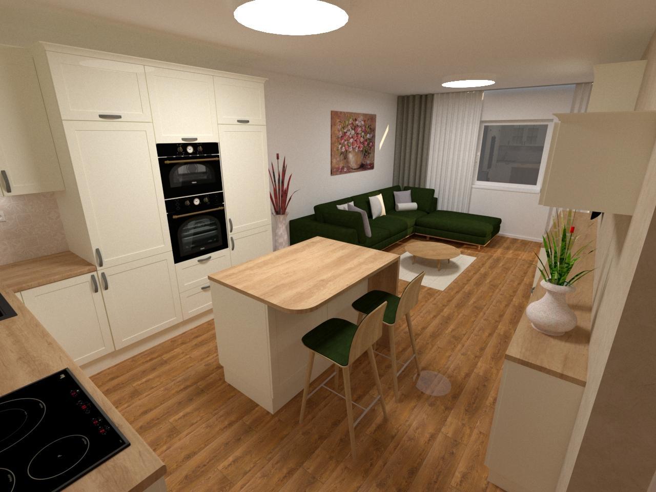 Grafické návrhy kuchynských liniek 2020 - Grafický návrh kuchynskej linky v bytovej novostavbe vo vidieckom štýle - obr.4