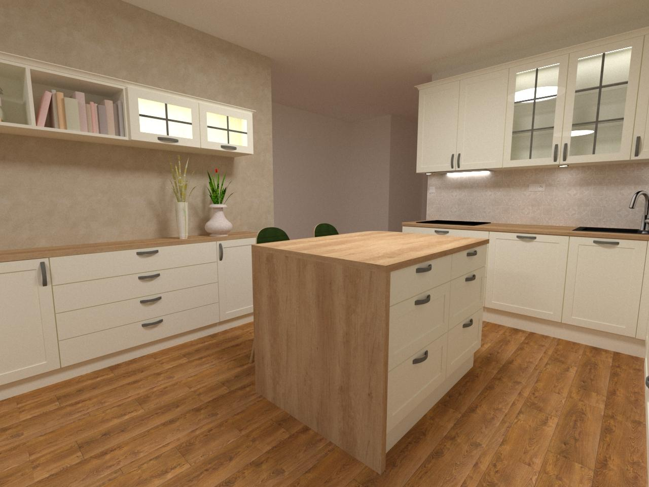 Grafické návrhy kuchynských liniek 2020 - Grafický návrh kuchynskej linky v bytovej novostavbe vo vidieckom štýle - obr.3