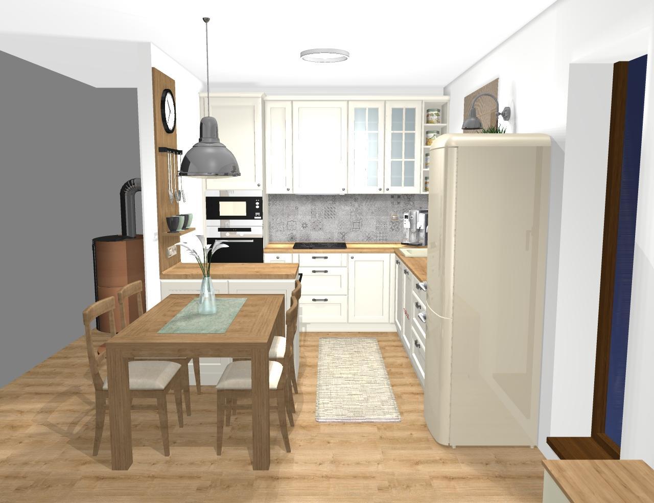 Grafické návrhy kuchynských liniek 2020 - Návrh kuchynskej linky do rodinného domu vo vidieckom štýle - obr.2