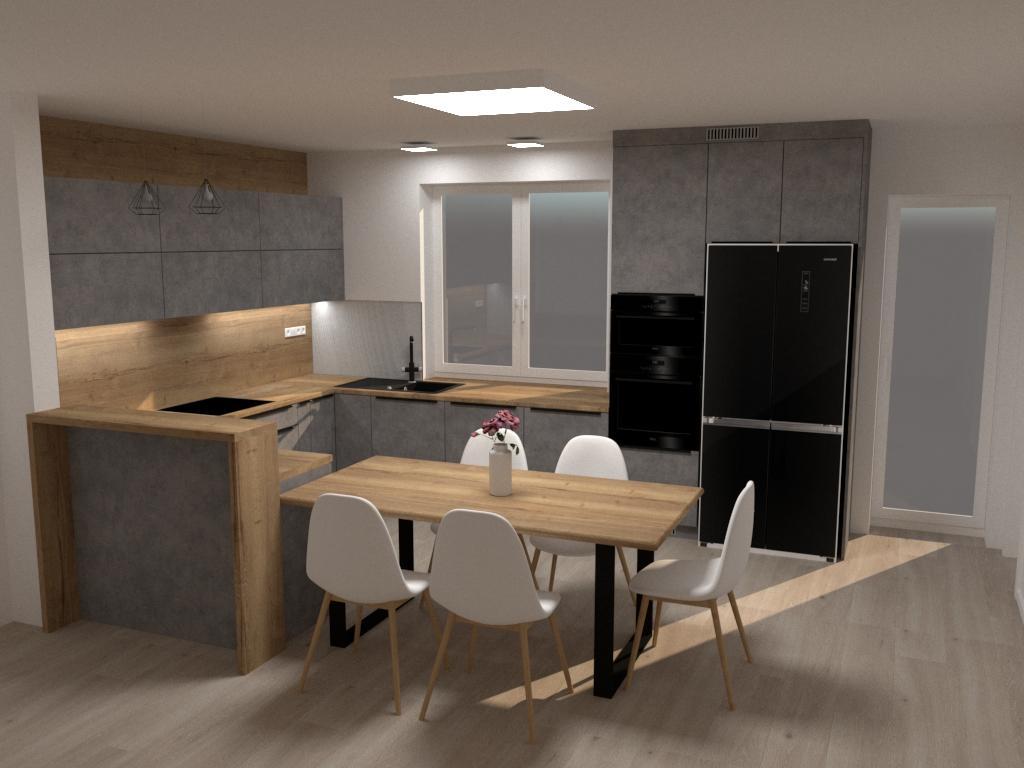 Grafické návrhy kuchynských liniek 2020 - Návrh kuchynskej linky do rodinného domu - verzia 1 - obr.1