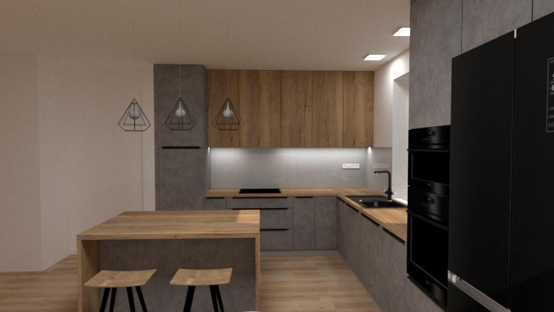 Grafické návrhy kuchynských liniek 2020 - Návrh kuchynskej linky do rodinného domu - verzia 2 - obr.2