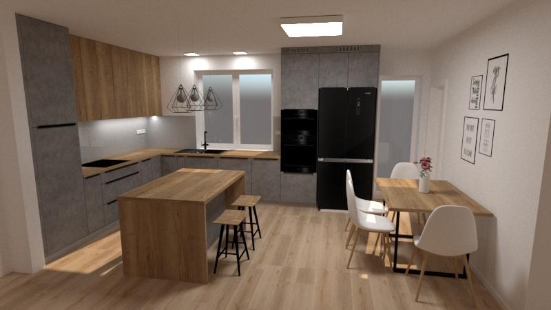 Grafické návrhy kuchynských liniek 2020 - Návrh kuchynskej linky do rodinného domu - verzia 2 - obr.1