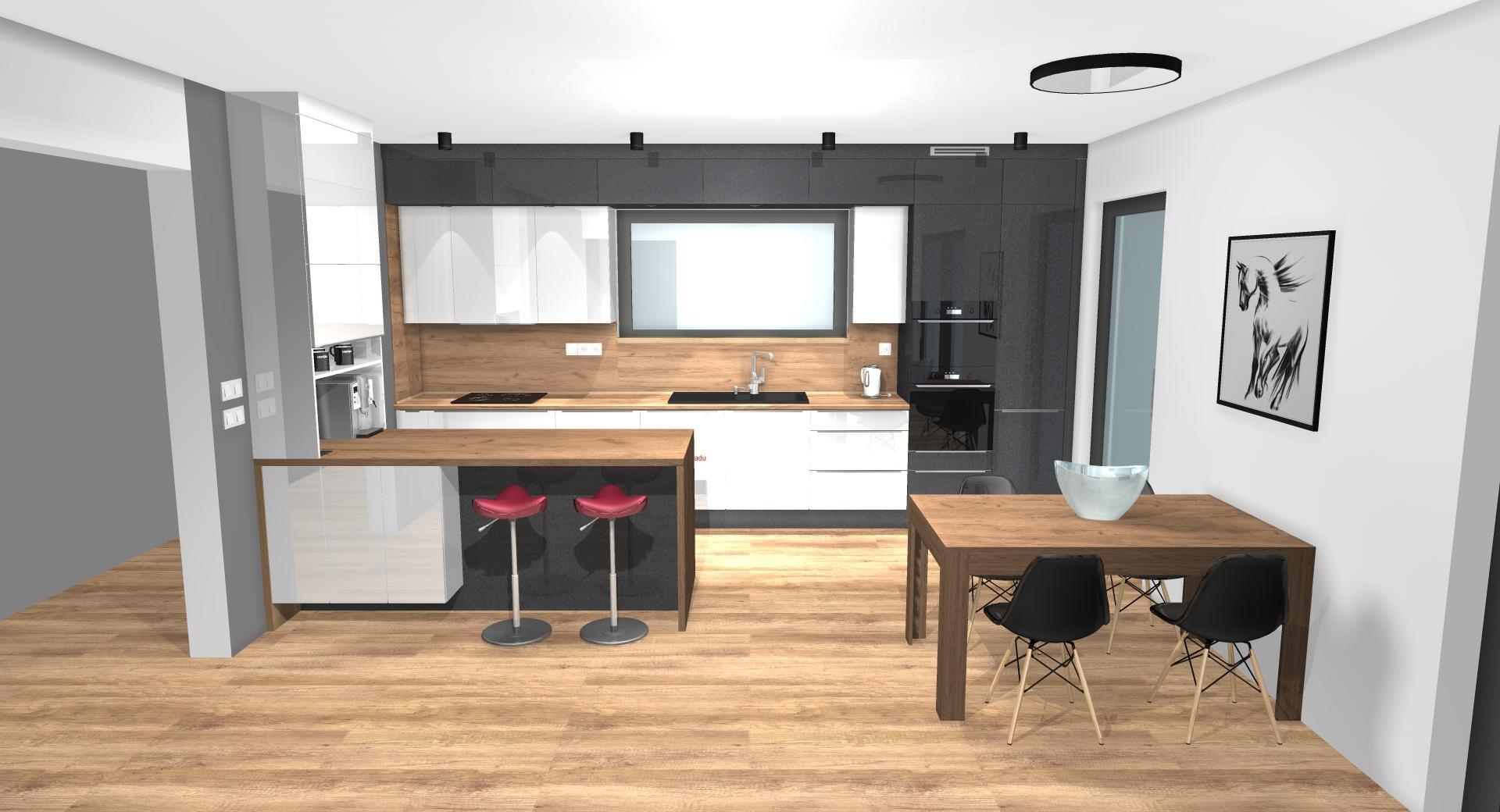 Grafické návrhy kuchynských liniek 2020 - Grafický návrh kuchynskej linky do rodinného domu v Zv - obr.1