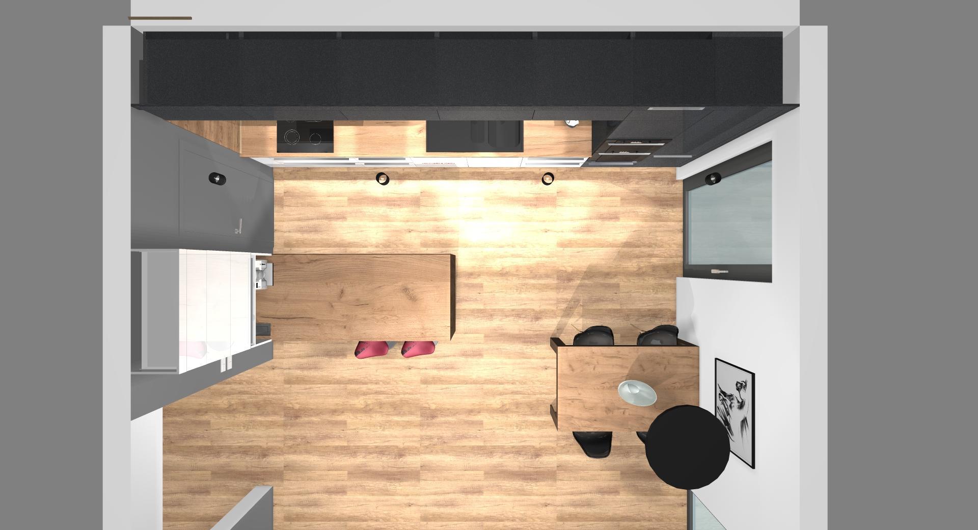 Grafické návrhy kuchynských liniek 2020 - Grafický návrh kuchynskej linky do rodinného domu v Zv - obr.6