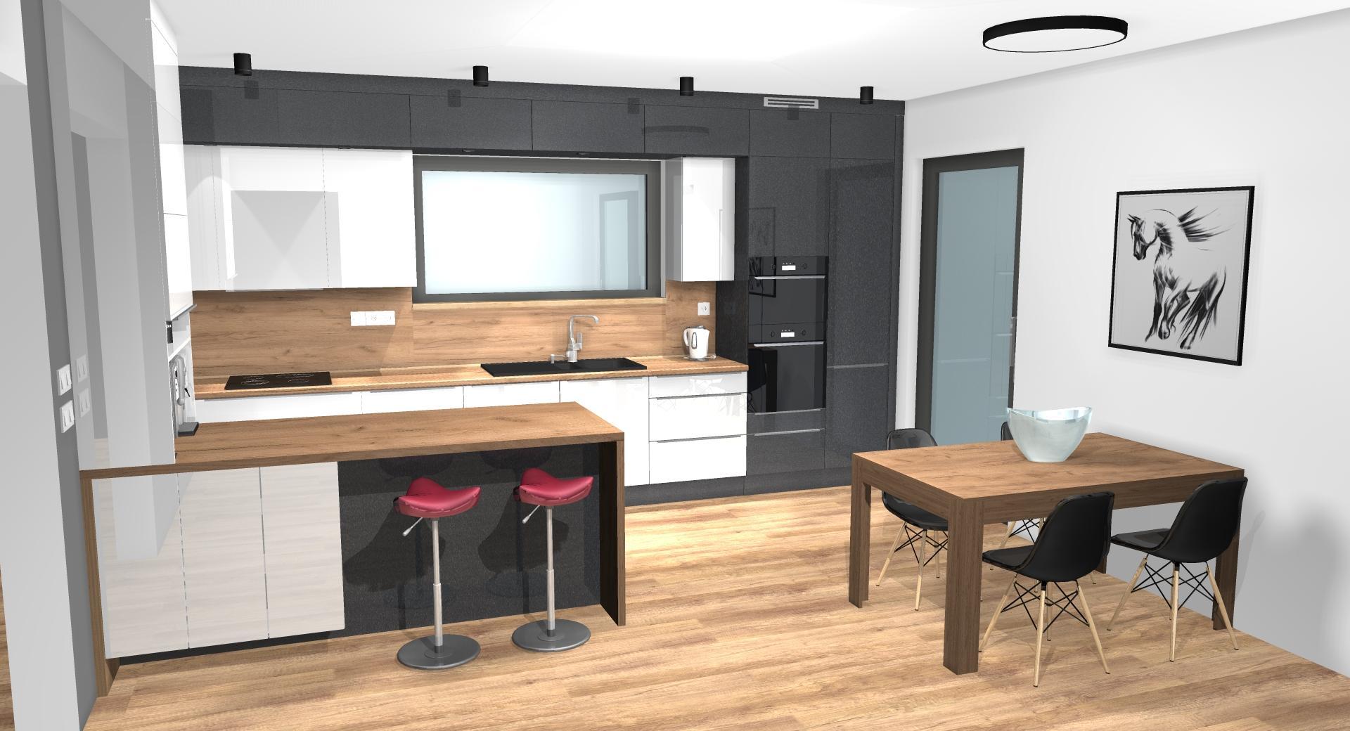 Grafické návrhy kuchynských liniek 2020 - Grafický návrh kuchynskej linky do rodinného domu v Zv - obr.3