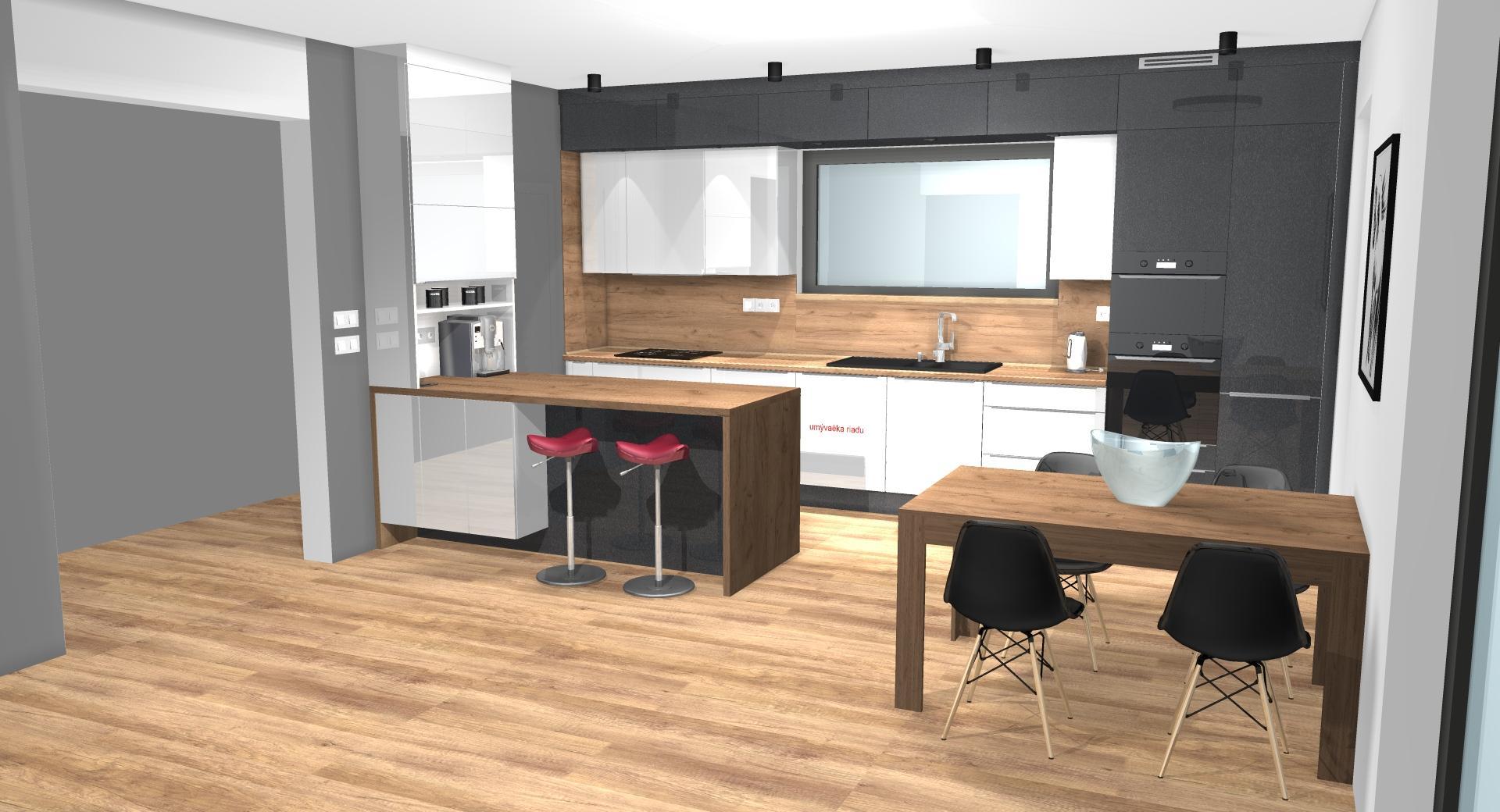 Grafické návrhy kuchynských liniek 2020 - Grafický návrh kuchynskej linky do rodinného domu v Zv - obr.2