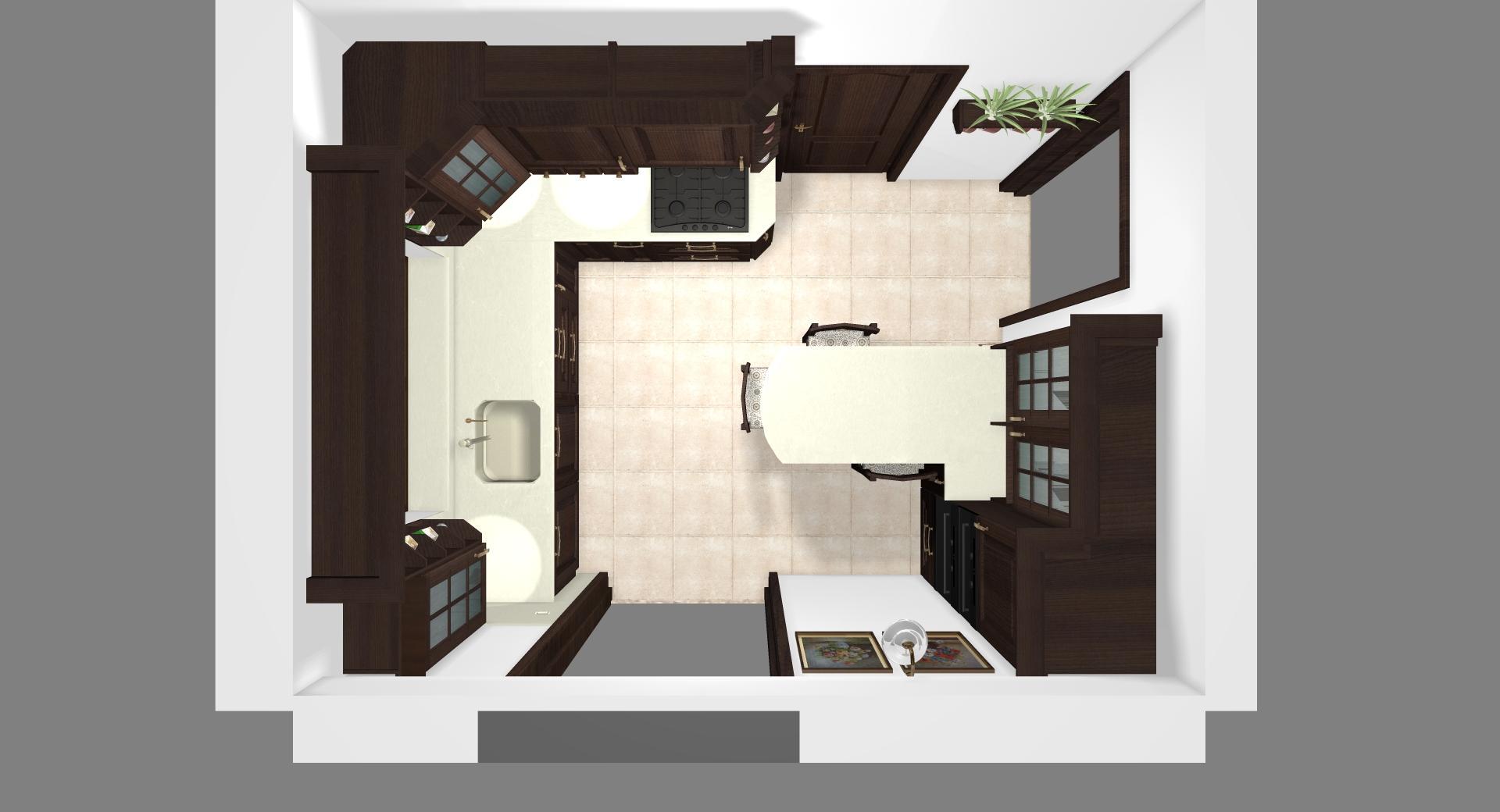 Grafické návrhy kuchynských liniek 2020 - Grafický návrh kuchynskej linky do rodinného domu v rustikálnom štýle - obr.9