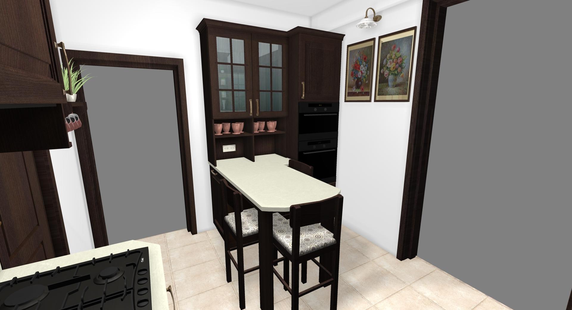Grafické návrhy kuchynských liniek 2020 - Grafický návrh kuchynskej linky do rodinného domu v rustikálnom štýle - obr.5
