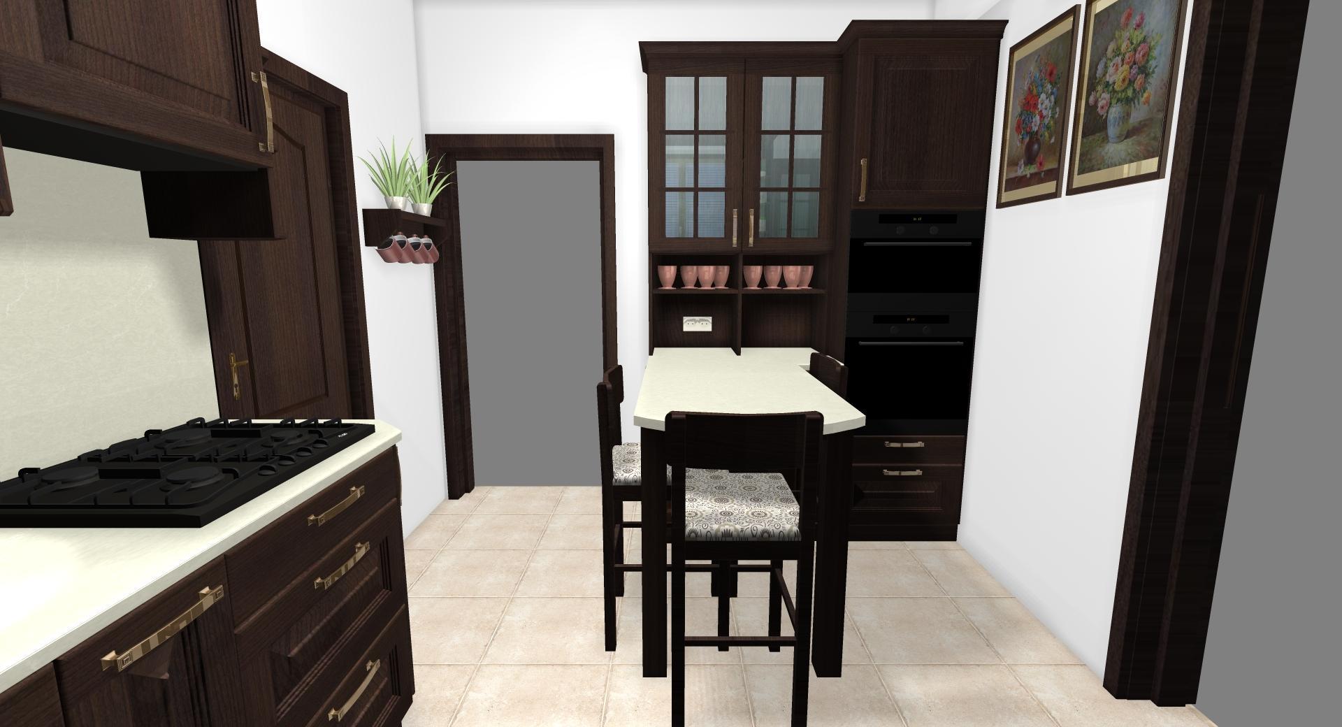 Grafické návrhy kuchynských liniek 2020 - Grafický návrh kuchynskej linky do rodinného domu v rustikálnom štýle - obr.6