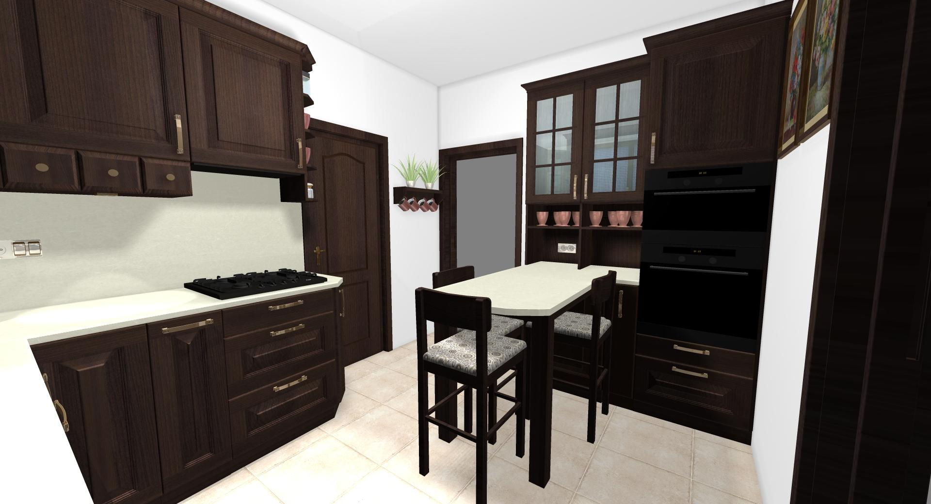Grafické návrhy kuchynských liniek 2020 - Grafický návrh kuchynskej linky do rodinného domu v rustikálnom štýle - obr.7