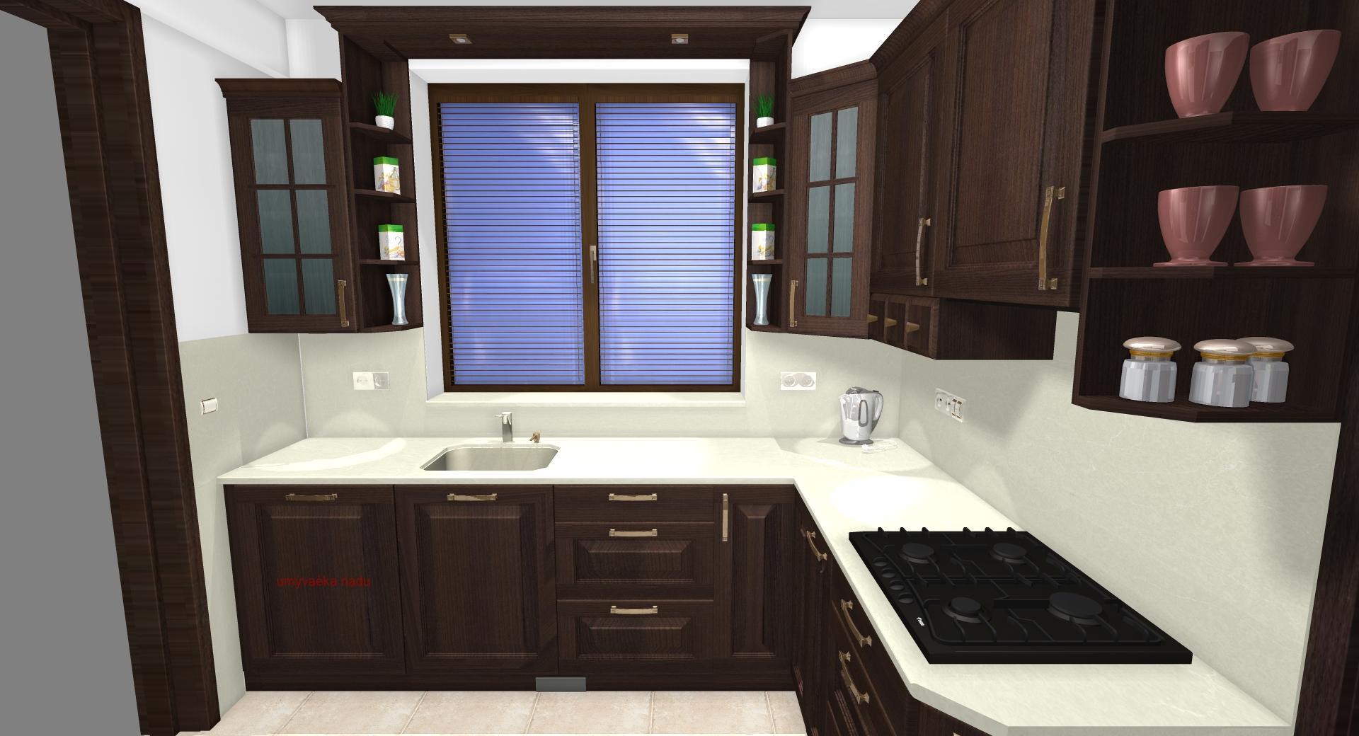 Grafické návrhy kuchynských liniek 2020 - Grafický návrh kuchynskej linky do rodinného domu v rustikálnom štýle - obr.3