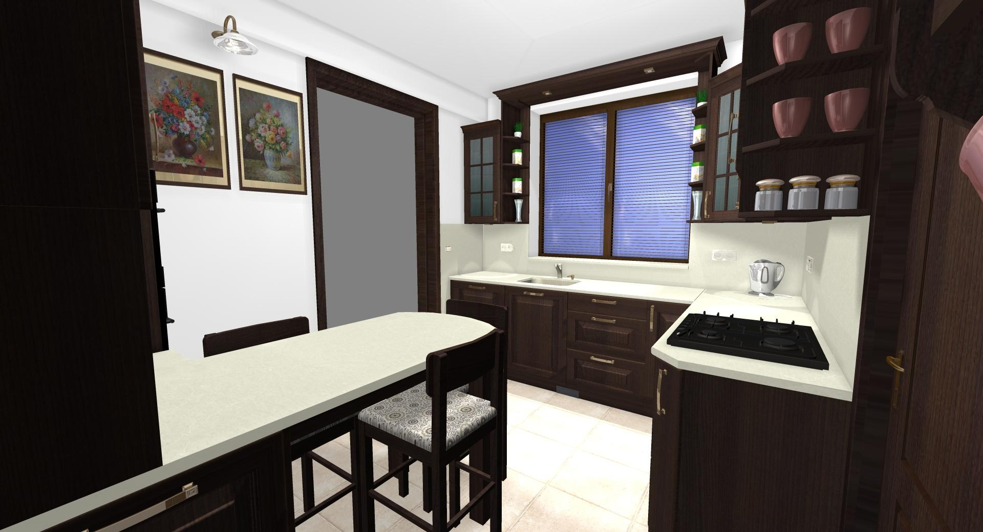 Grafické návrhy kuchynských liniek 2020 - Grafický návrh kuchynskej linky do rodinného domu v rustikálnom štýle - obr.8