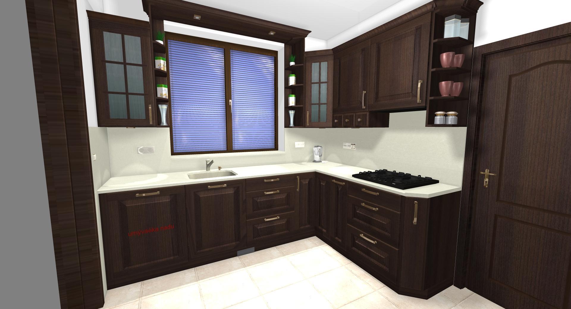 Grafické návrhy kuchynských liniek 2020 - Grafický návrh kuchynskej linky do rodinného domu v rustikálnom štýle - obr.2