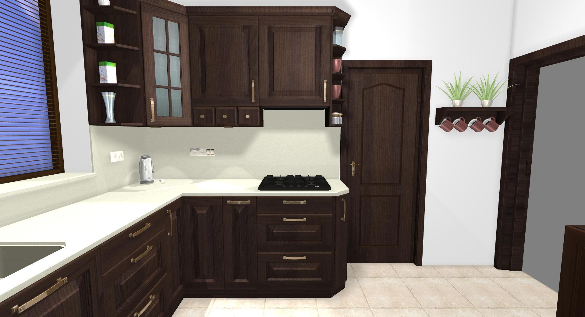 Grafické návrhy kuchynských liniek 2020 - Grafický návrh kuchynskej linky do rodinného domu v rustikálnom štýle - obr.4