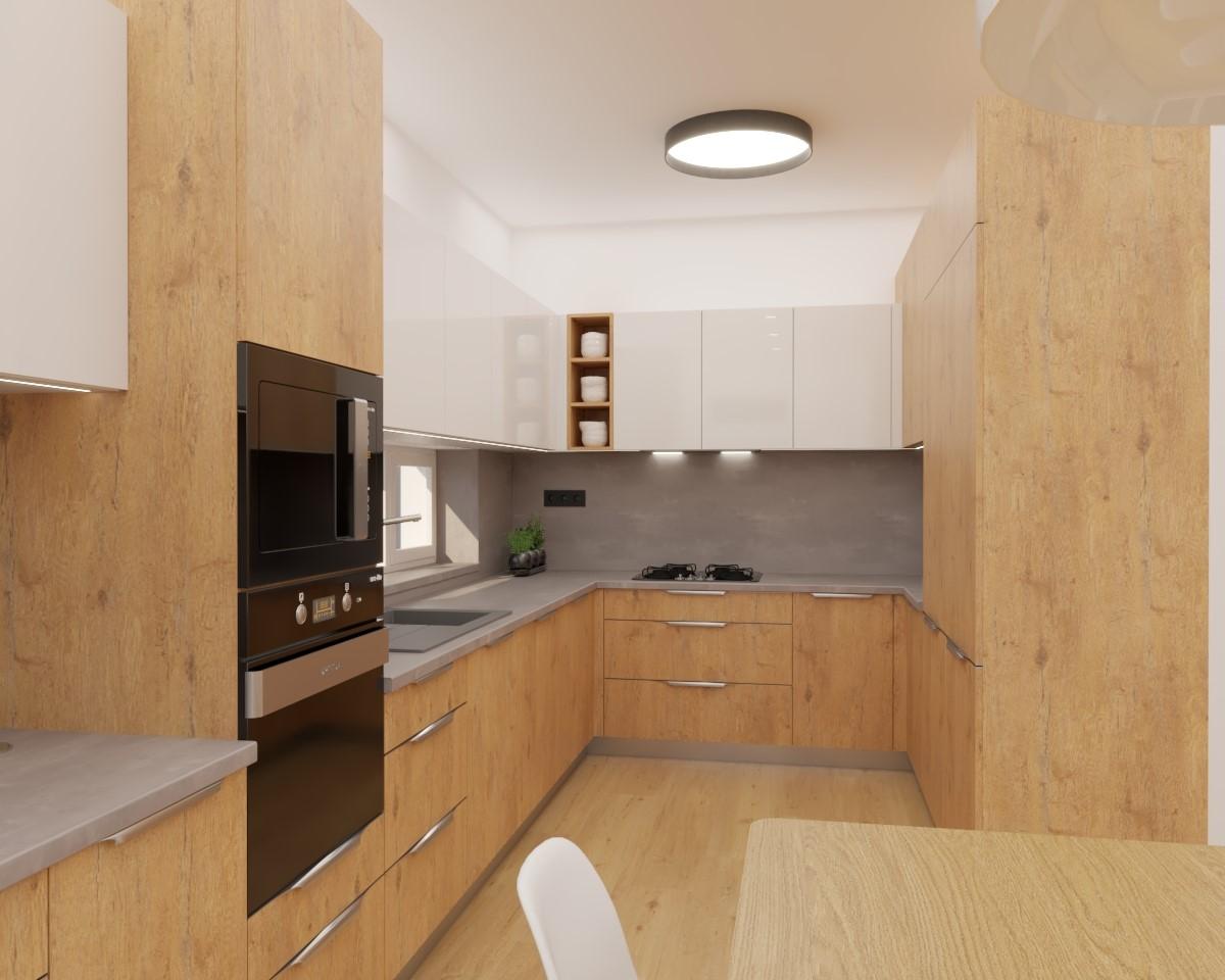 Grafické návrhy kuchynských liniek 2020 - Grafický návrh kuchyne spojenej s obývačkou do rodinného domu v BA - obr.1