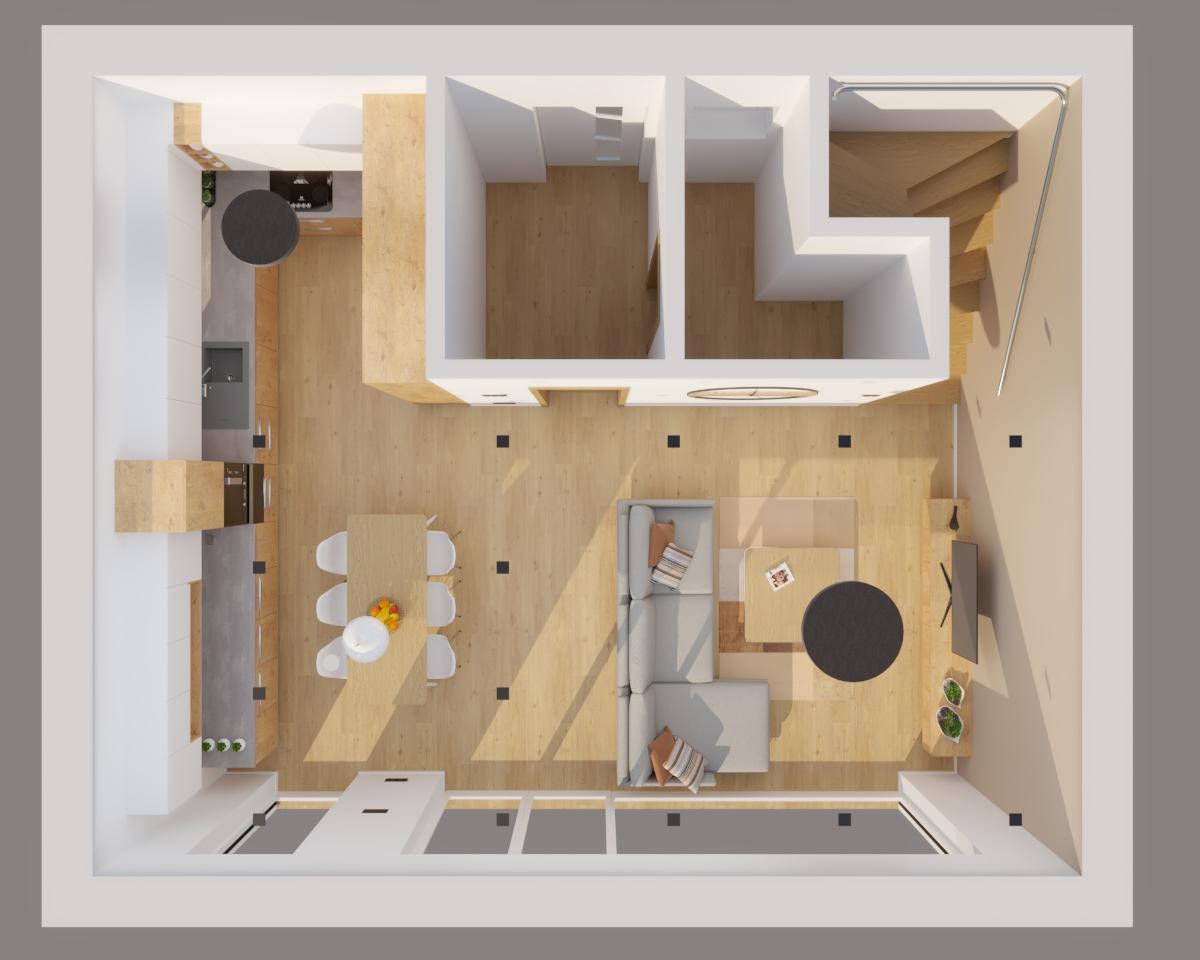 Grafické návrhy kuchynských liniek 2020 - Grafický návrh kuchyne spojenej s obývačkou do rodinného domu v BA - obr.10