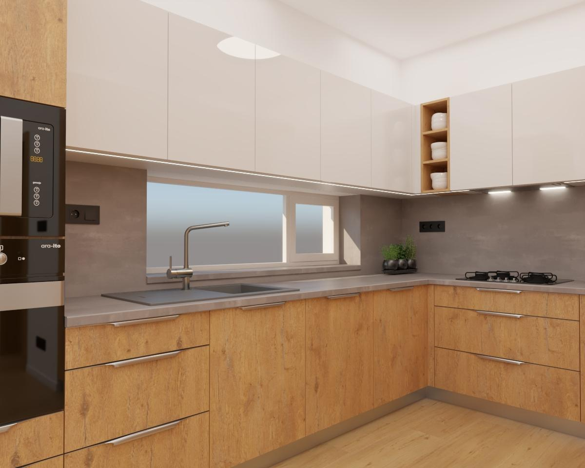 Grafické návrhy kuchynských liniek 2020 - Grafický návrh kuchyne spojenej s obývačkou do rodinného domu v BA - obr.3