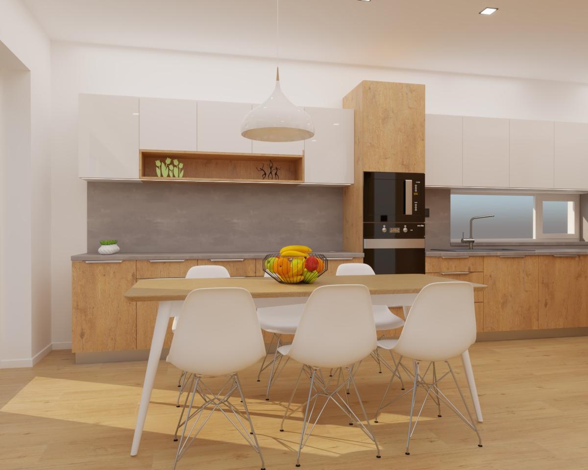 Grafické návrhy kuchynských liniek 2020 - Grafický návrh kuchyne spojenej s obývačkou do rodinného domu v BA - obr.4