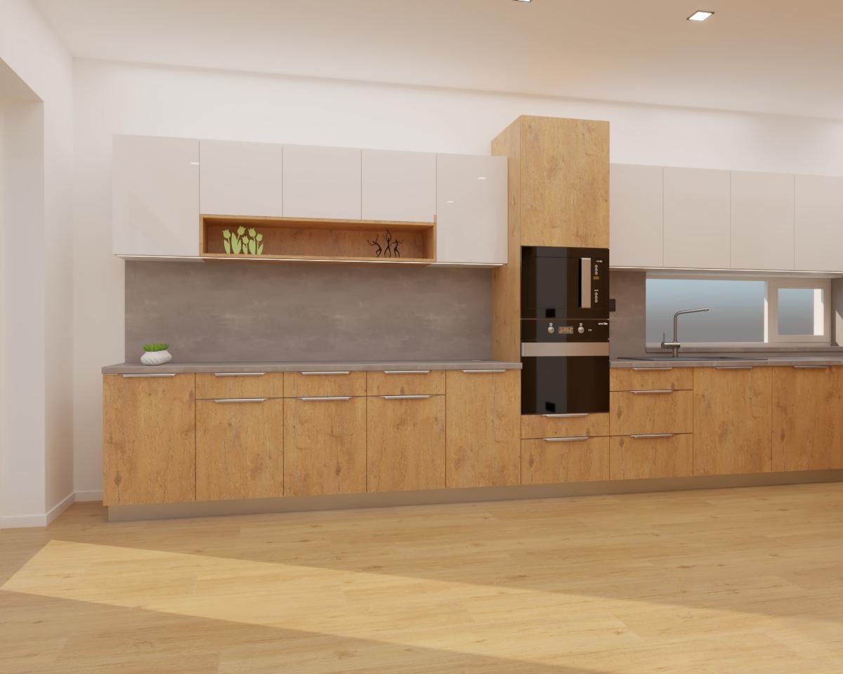 Grafické návrhy kuchynských liniek 2020 - Grafický návrh kuchyne spojenej s obývačkou do rodinného domu v BA - obr.5