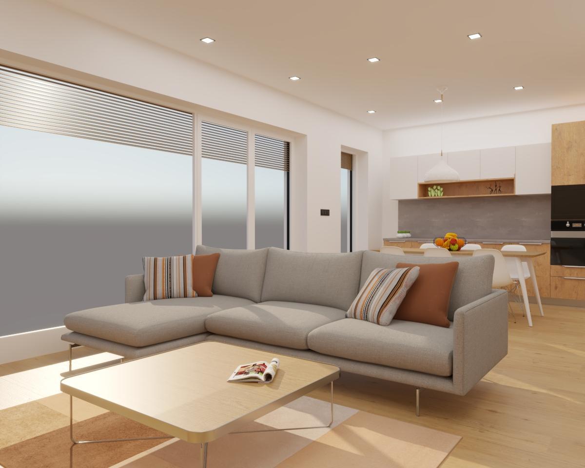 Grafické návrhy kuchynských liniek 2020 - Grafický návrh kuchyne spojenej s obývačkou do rodinného domu v BA - obr.9