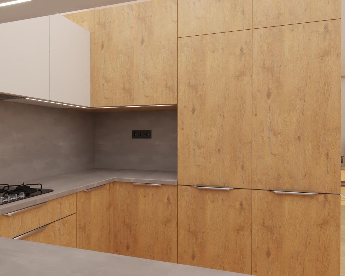 Grafické návrhy kuchynských liniek 2020 - Grafický návrh kuchyne spojenej s obývačkou do rodinného domu v BA - obr.2
