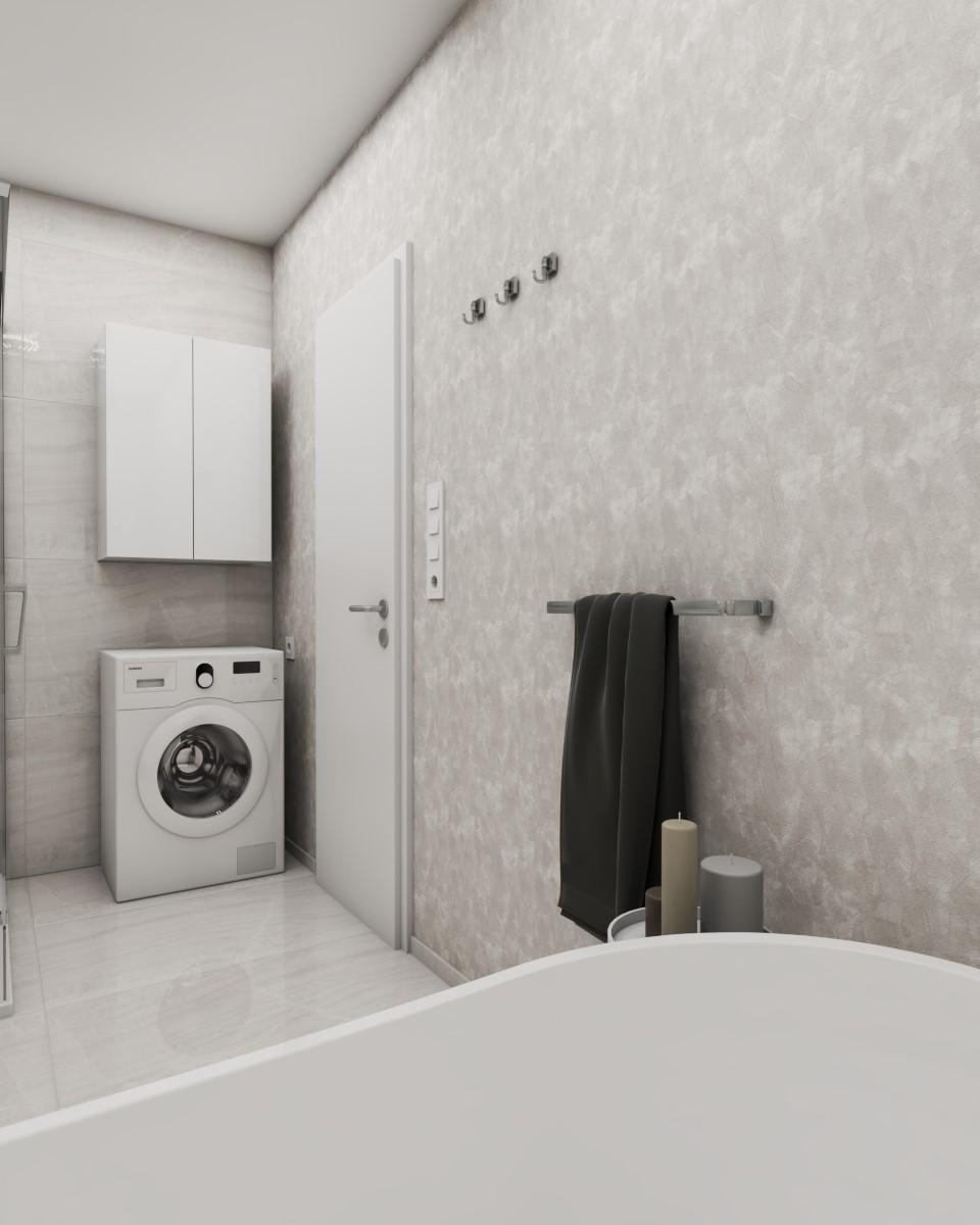 Grafické návrhy interiér 2020 - Grafický návrh kúpeľne a WC v paneláku - obr.4