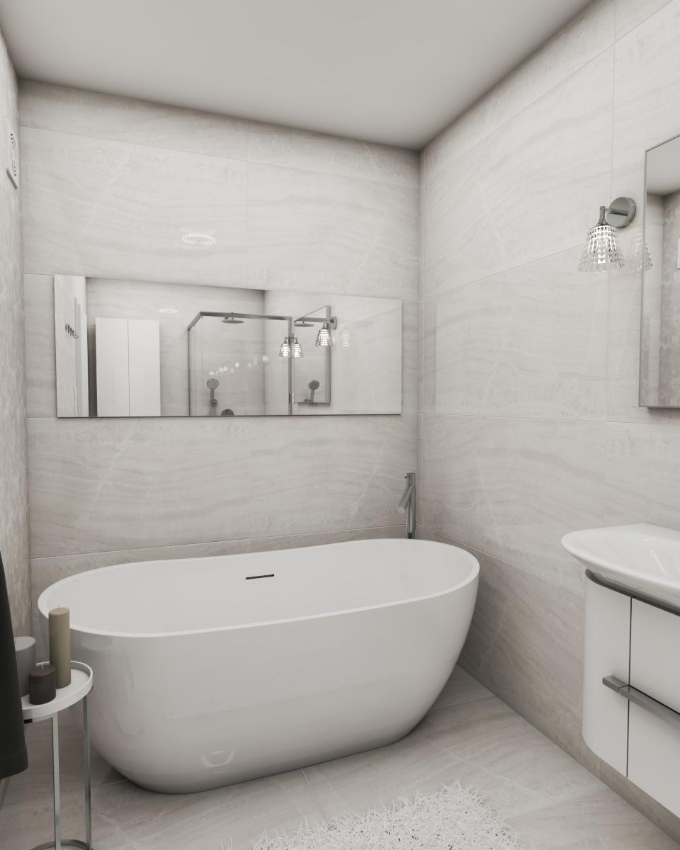 Grafické návrhy interiér 2020 - Grafický návrh kúpeľne a WC v paneláku - obr.1