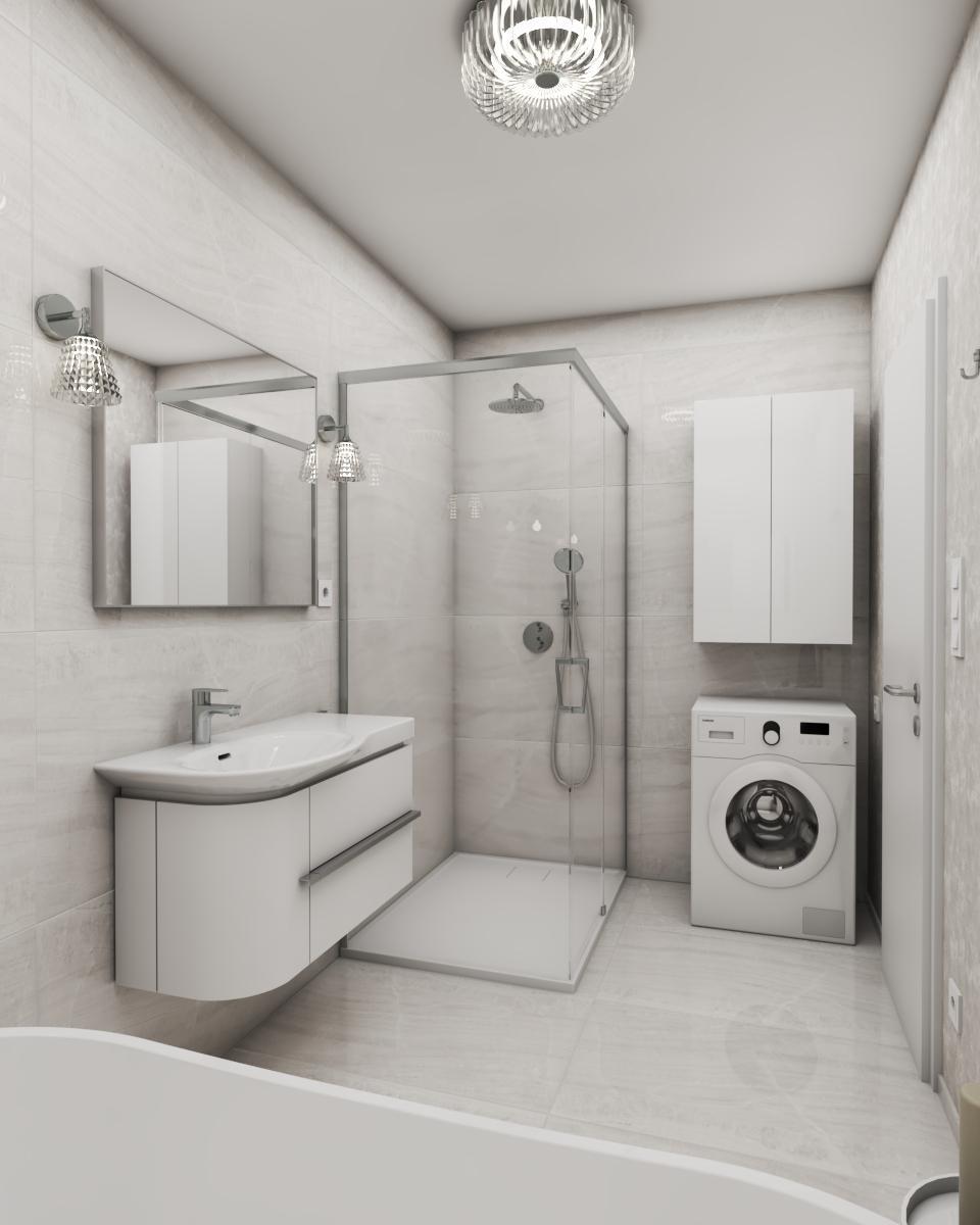 Grafické návrhy interiér 2020 - Grafický návrh kúpeľne a WC v paneláku - obr.3