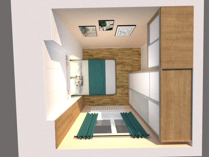 Grafické návrhy interiér 2020 - Grafický návrh spálne v paneláku v Šahách - obr.6