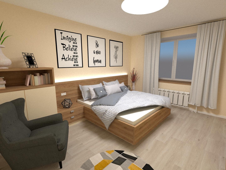 Grafické návrhy interiér 2020 - Grafický návrh spálne v rodinnom dome v Sáse- obr.1