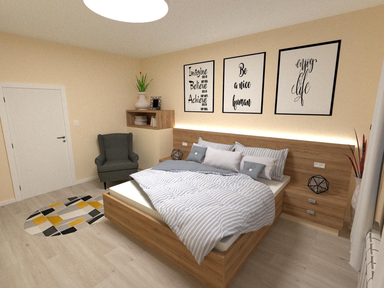 Grafické návrhy interiér 2020 - Grafický návrh spálne v rodinnom dome v Sáse- obr.2