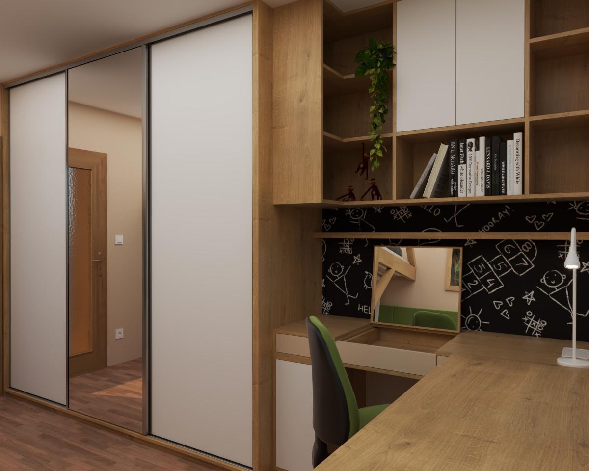 Grafické návrhy interiér 2020 - Grafický návrh študentskej izby do rodinného domu - obr.6