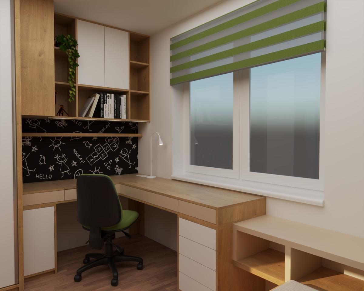 Grafické návrhy interiér 2020 - Grafický návrh študentskej izby do rodinného domu - obr.5