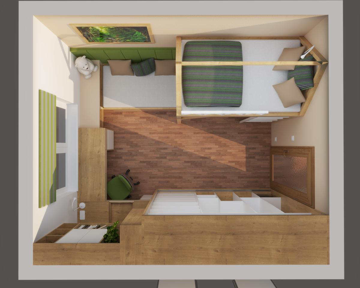 Grafické návrhy interiér 2020 - Grafický návrh študentskej izby do rodinného domu - obr.8