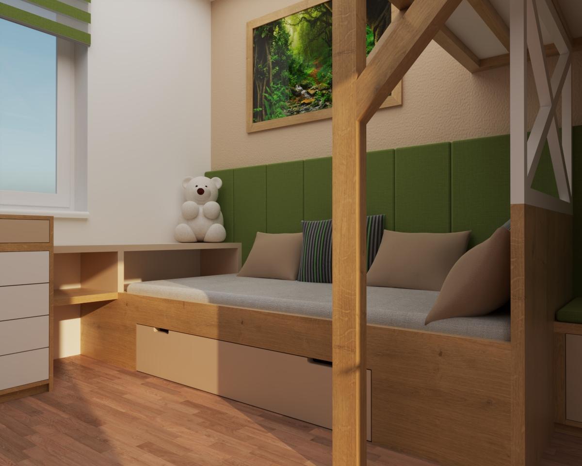 Grafické návrhy interiér 2020 - Grafický návrh študentskej izby do rodinného domu - obr.4
