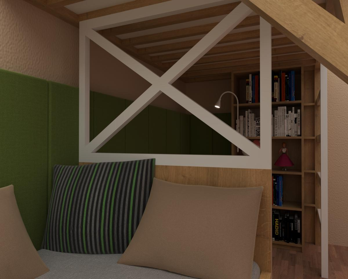 Grafické návrhy interiér 2020 - Grafický návrh študentskej izby do rodinného domu - obr.2