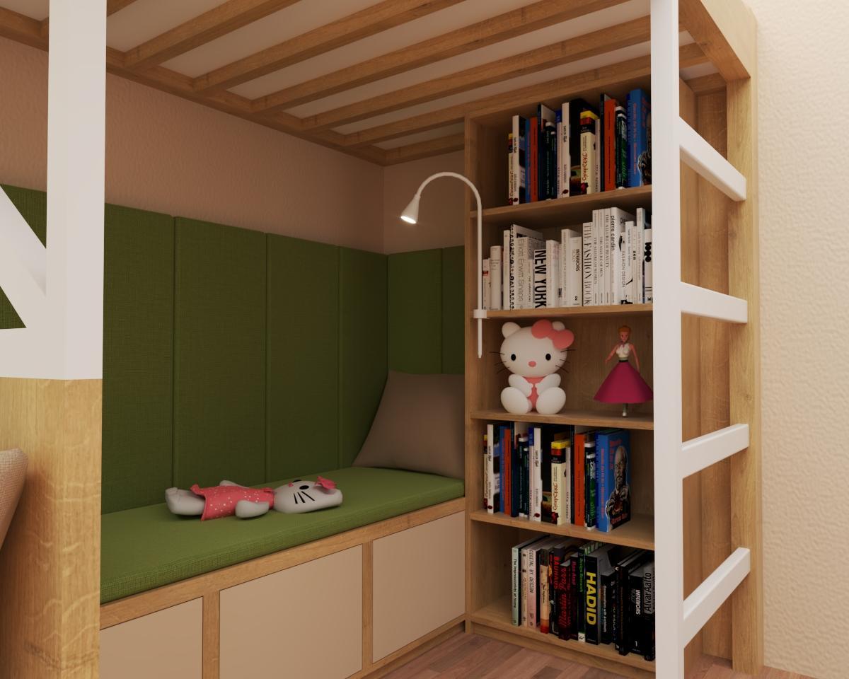 Grafické návrhy interiér 2020 - Grafický návrh študentskej izby do rodinného domu - obr.3