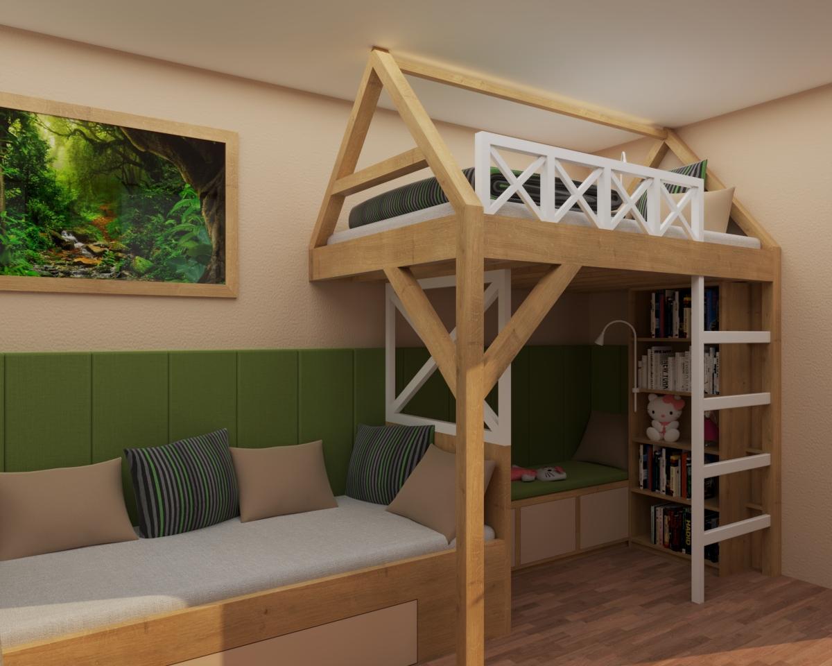 Grafické návrhy interiér 2020 - Grafický návrh študentskej izby do rodinného domu - obr.1