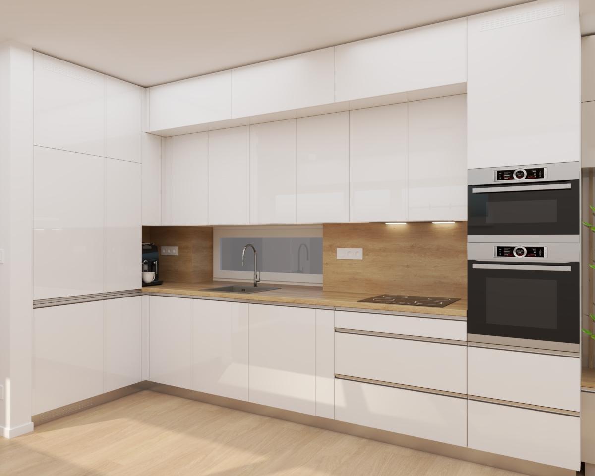 Grafické návrhy bytov a domov - Grafický návrh kuchyne spojenej s obývačkou a vstupnej chodby do rodinného domu v BA - obr.1