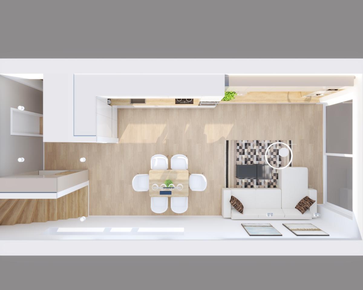 Grafické návrhy bytov a domov - Grafický návrh kuchyne spojenej s obývačkou a vstupnej chodby do rodinného domu v BA - obr.9