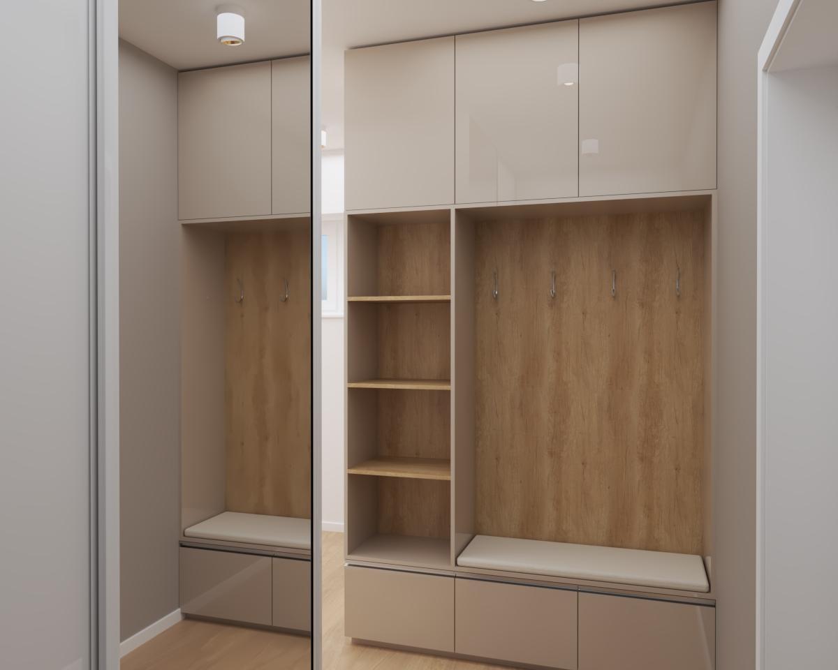 Grafické návrhy bytov a domov - Grafický návrh kuchyne spojenej s obývačkou a vstupnej chodby do rodinného domu v BA - obr.6